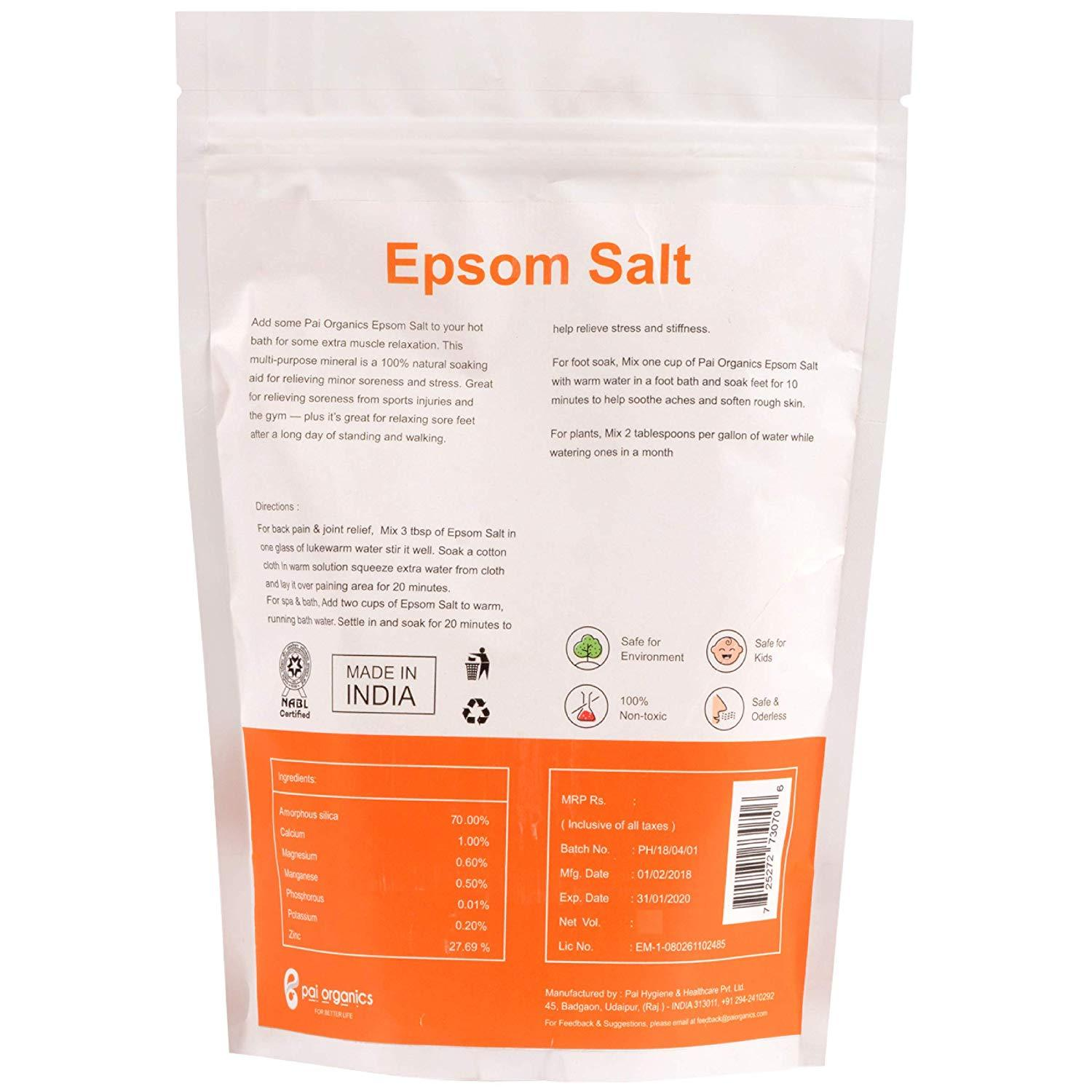 Organic - Organic Epsom Salt (Magnesium Sulphate) For Bath, Salt Suitable For Aches, Pain And Muscles Relief, 900g