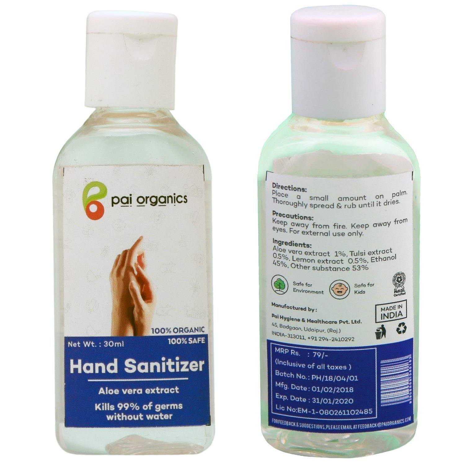 Organic - Organic Hand Sanitizer | Aloevera, Neem And Tulsi Extracts | Natural Germ Protection | 30 Ml