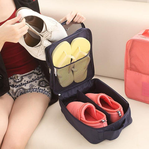 Organiser - Double Layer Waterproof Shoe Storage Bag Footwear Organizer Pouch Travelling