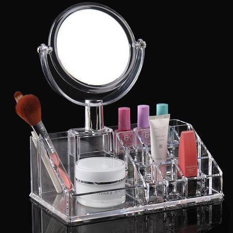 Organiser - Stylish Makeup Cosmetics/ Jewelry Organizer Vanity Box With Handy Plug-in 2 Way Magnification Makeup Mirror