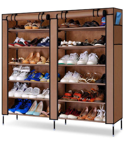 Organiser - Stylish New Double Door Dust Proof & Damp Proof Shoe Rack (6 Rows X 2 Columns)