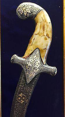 "Other Antiques - Assorted Original Silver Mughal Dagger With Engravings (12"")Koftgiri"