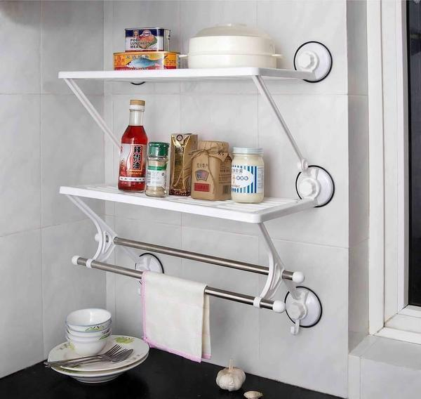 Rack - Tuzech 2 Layer Suction Hold Shelf For Kitchen Or Bathroom With Towel Stand