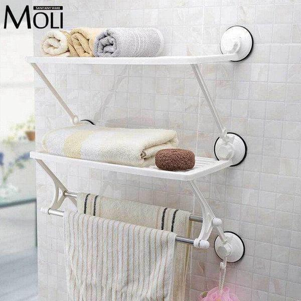 Tuzech 3 Suction Layer Shelf Cum Towel Holder - The Immart  - 1