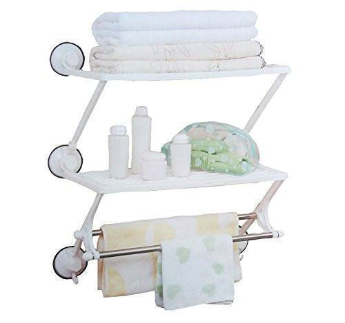 Tuzech 3 Suction Layer Shelf Cum Towel Holder - The Immart  - 2