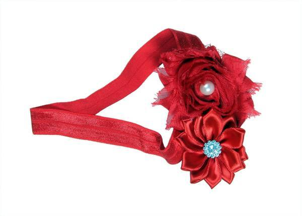 Red Robust Two Flower Cute Hair Band For Baby