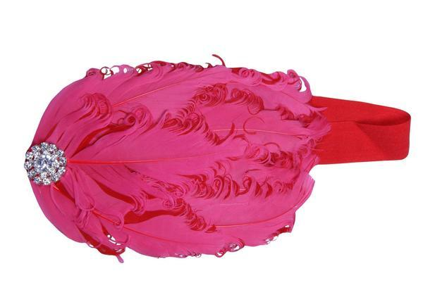Redistic Red Robust Elastic  With Feathers Head Band