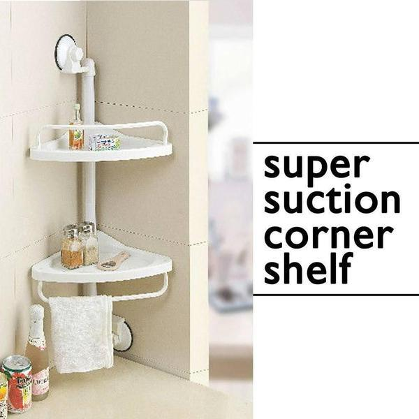Shelves - Suction Side Corner Shelf For Kitchen / Bathroom Or Office