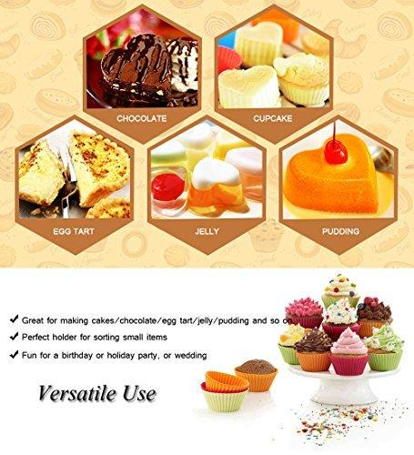 Silicone Cupcake Liners 6-Pcs Reusable Cake Mold Nonstick Heat-Resistant Muffin Pans Chocolate Candy Molds