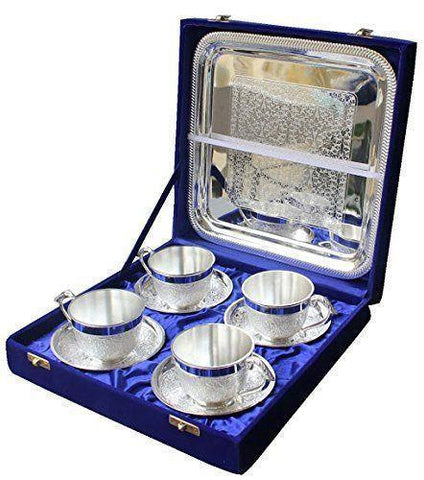 In Indea Silver Plated Artistic  Tea Cup Tray Set Of 4 Pc With Large Tray The Immart