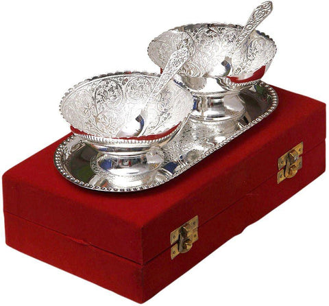 Silver Plated - In Indea Silver Plated Brass Bowl With Tray Set Of 5 Pieces