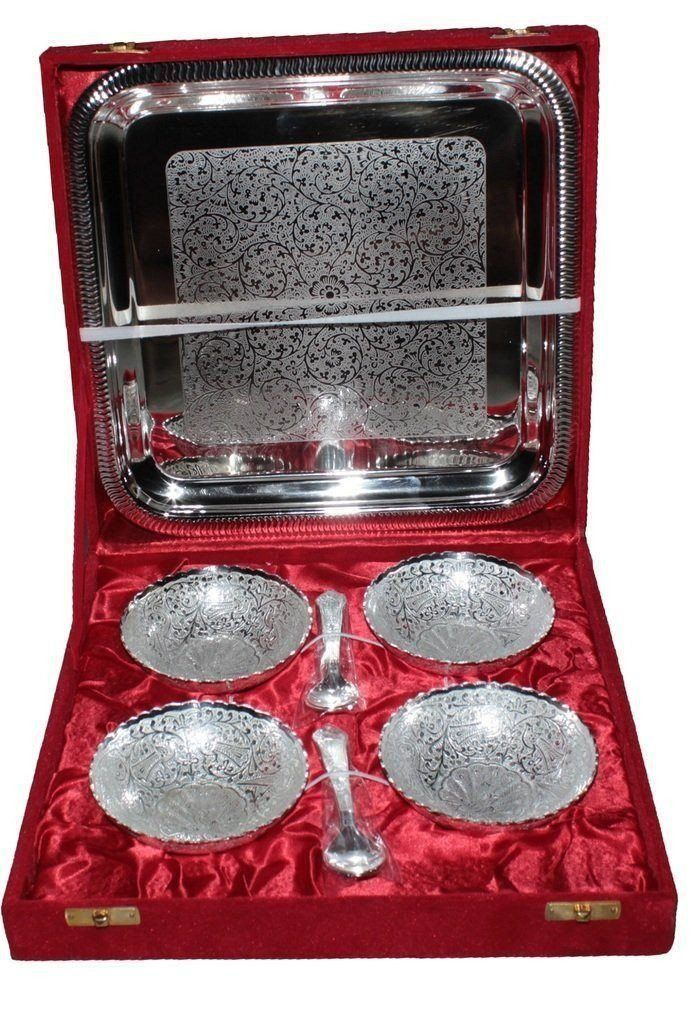 IN INDEA Silver Plated ( Silver and Gold Colour)Unique Traditional Set of 4 Bowls - The Immart - 4