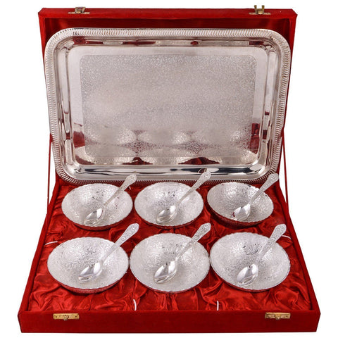 Silver Plated - IN INDEA Traditional Silver Plated Bowl Set  With Spoon And Tray