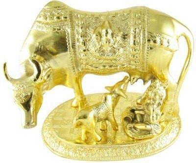 Silver Plated - In India Gold Plated Kamdhenu Cow Oxidized Golden Finish ( Small )