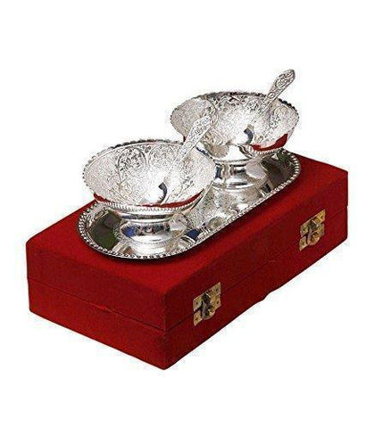 Silver Plated - IN-INDIA Handicrafts Silver Plated Brass Bowl With Tray - Set Of 5