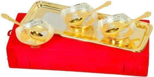 ININDIA Gold and Silver Plated Tray And Bowl Set The Immart