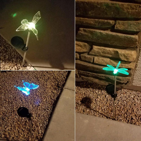 Solar - Auto Colour Change Transparent Butterfly Solar Powered Rechargeable LED Lawn Garden Light Lamp Auto On Off Waterproof
