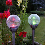 Solar - Tuzech Waterproof And Colorful Glass And Steel Broken Ball Designer Garden Solar Led