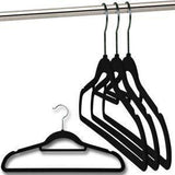 Tie Hanger - Tuzech Black Velvet Flocked Hangers With Tie Bar ( Set Of 5)
