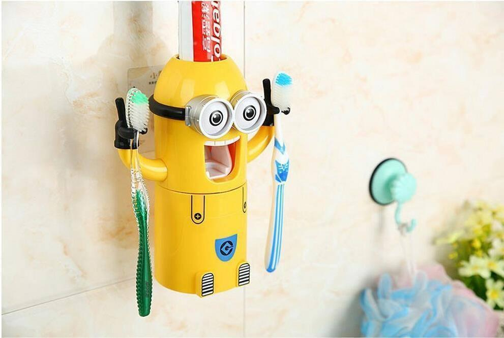 Toothbrush Holder - Minion Toothpaste Dispenser - Can Hold 2 Brushes