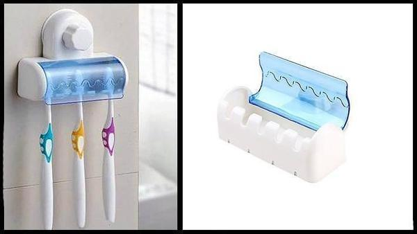 Toothbrush Holder - Wall ToothBrush Holder With Suction Holder - Set Of 2