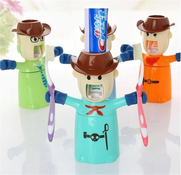 Toothbrush Holder - Warrior Toothpaste Dispenser - Can Hold 2 Brushes ( RANDOM COLOUR)