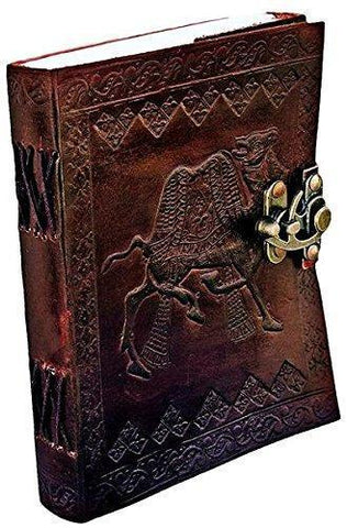 TUZECH Engraved Embossed Leather Diary Leather Journal Collection - More Than 12 Designs ( 7 Inches X 5 Inches) (Camel)