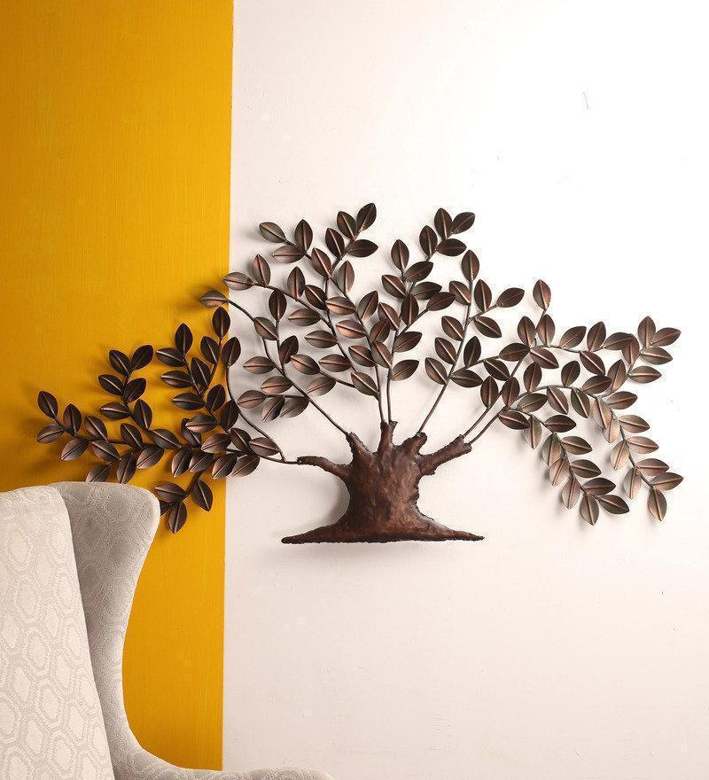 Tuzech Metal Designer Handmade Handicraft Gift Item Showpiece Wall Decor Piece Giving Bravery Large Tree With Leaves