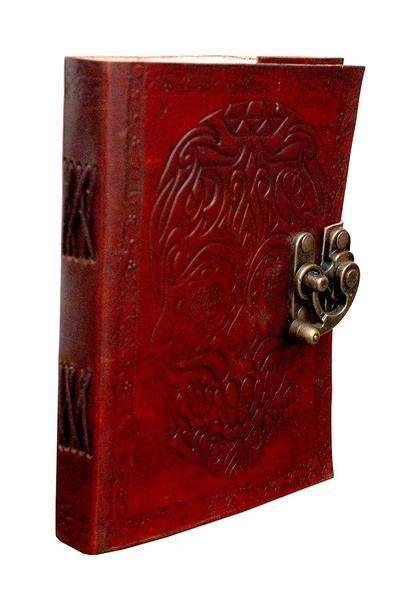 TUZECH Pure Genuine Real Vintage Hunter Leather Handmade Paper Notebook Diary For Office Home To Write Poem Daily Update With Attractive Metal Lock And Engraved Skull - Size Of (H) 7 Inches (Brown)