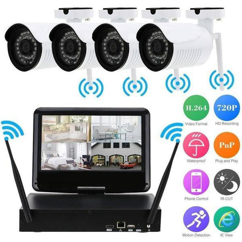 Wireless 4-CH Camera Wit Wireless DVR With LED SCREEN - Motion Rec-Nightvision