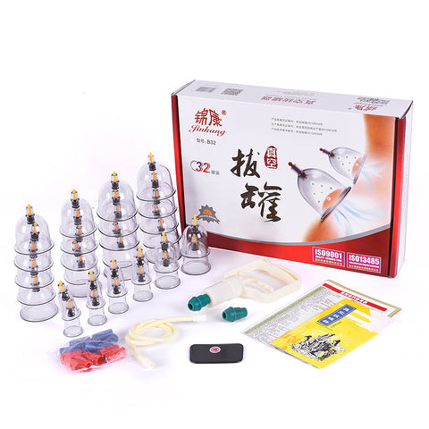 32 Pcs Vacuum Cupping Set with Pistol Grip Pump