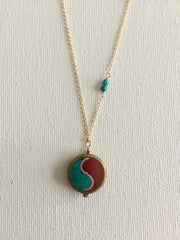 Simple Tibetan Turquoise and Coral Necklace