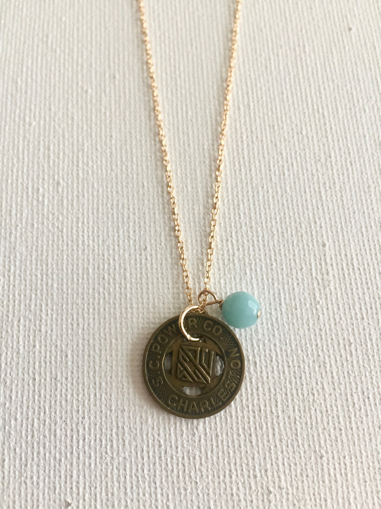 Vintage Charleston Trolley Token Necklace