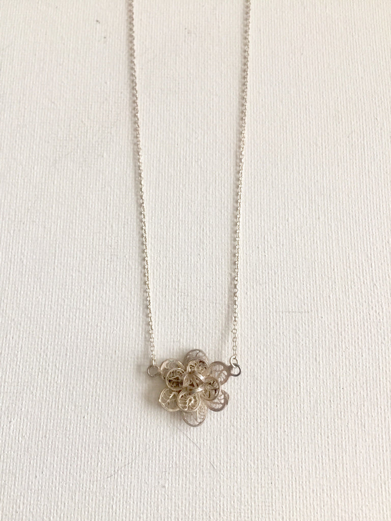 Vintage Sterling Filigree Flower Necklace