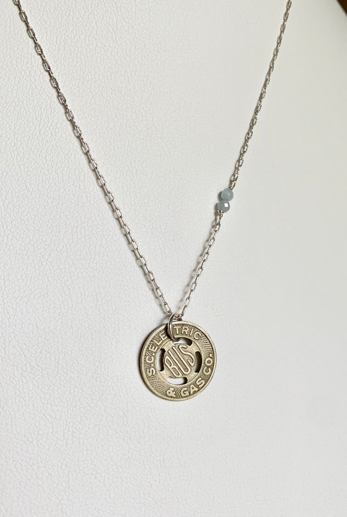Vintage South Carolina Bus Token Necklace