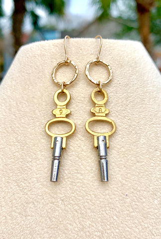 Vintage Pocket Watch Key Earrings