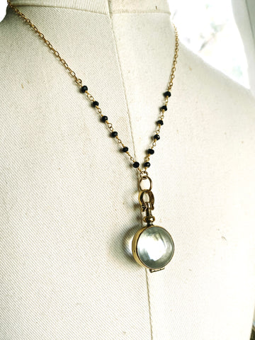 Glass Circle Locket and Onyx Necklace