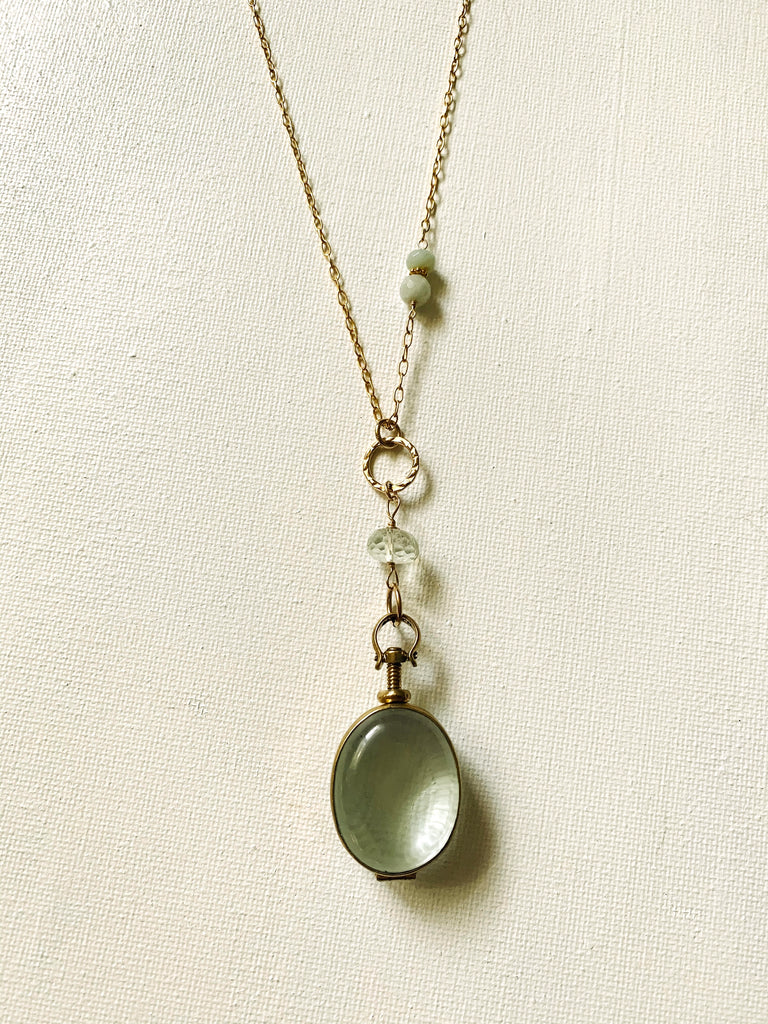 Glass Oval Locket with Green Amethyst