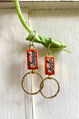 Vintage Italian Mosaic and Hoop Earrings