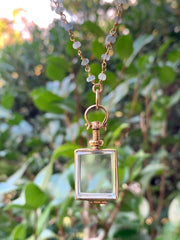 Small Rectangular Glass Locket Necklace