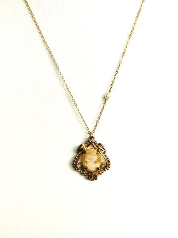 Square Glass Locket with Tibetan Pearl
