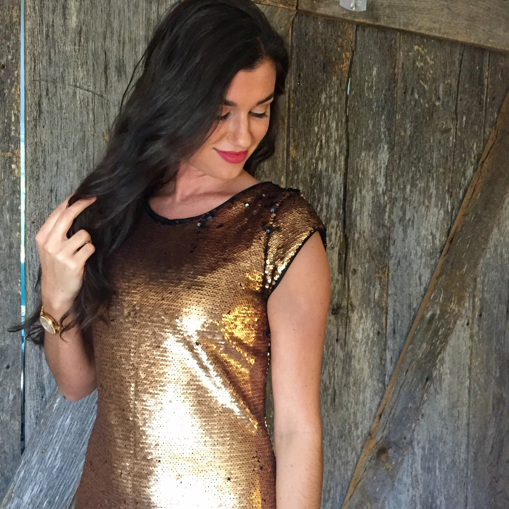 Show Me The Money Gold Sequin Dress
