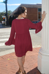 Wine All Day Bell Sleeve Dress