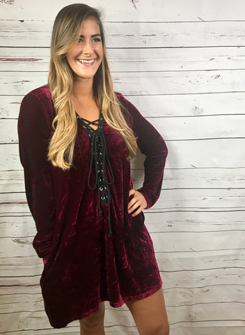Invite Only Lace-Up Velvet Dress