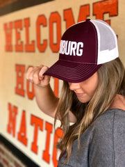 BBURG Hat - Maroon & White Trucker
