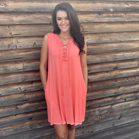 Tangerine Tango Lace-Up Dress
