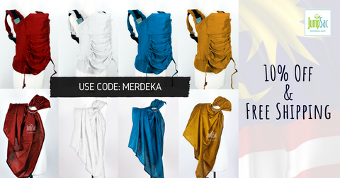Jumpsac Merdeka Deal / Offer: Raw Silk Orbit Carrier & Ring Sling. 10% Off & Free Shipping
