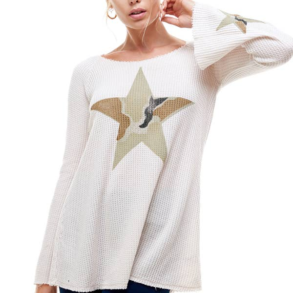 CAMOUFLAGE STAR L/S HOODIE TOP