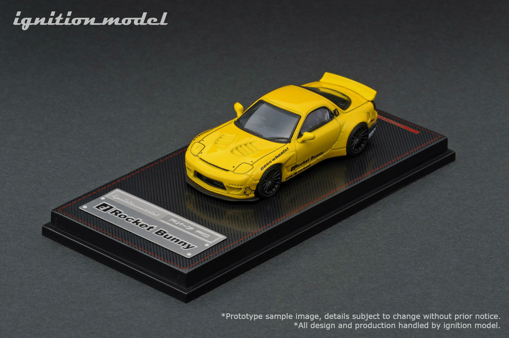 Ignition Model 1/64 Rocket Bunny RX-7 (FD3S) Yellow - Tarmac Works Exclusive Color