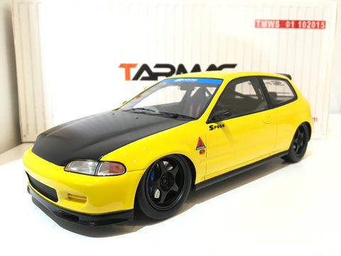 Tarmac Works 1/18 Spoon Honda Civic EG6 - Yellow with Black Bonnet